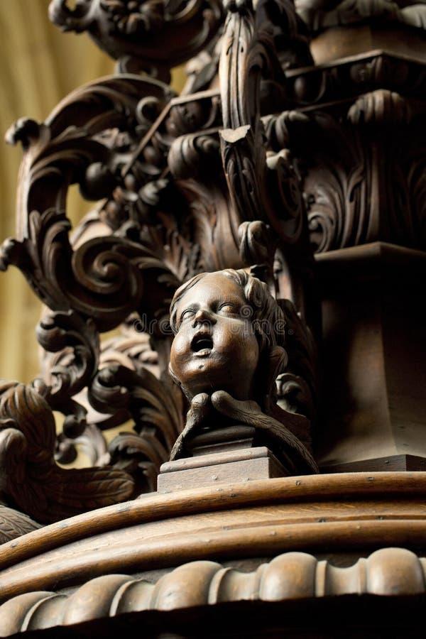 Detail der geschnitzten Taufe-Guss-Abdeckung im S?dgang von Beverley Minster Parish Church, Beverely, Ostreiten von Yorkshire, Gr lizenzfreies stockbild