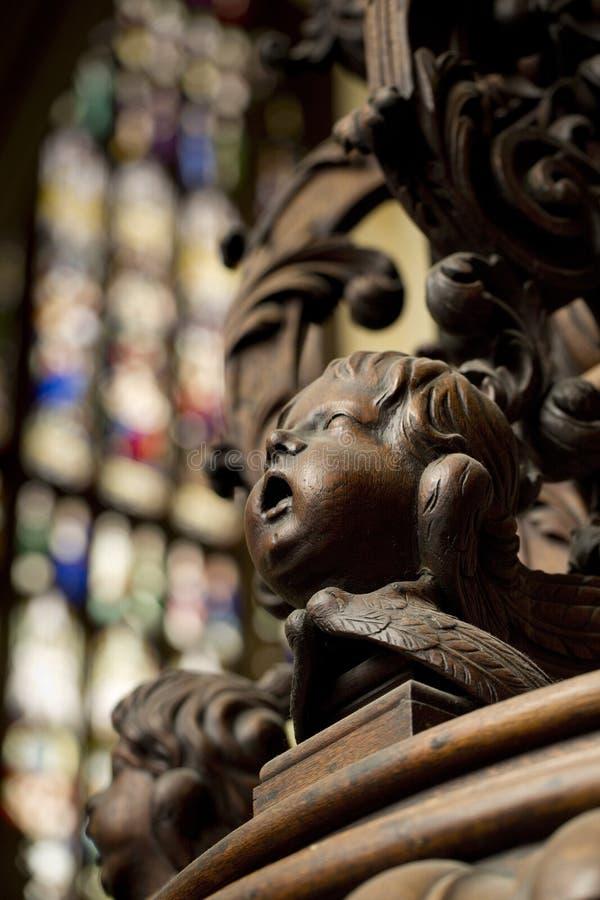 Detail der geschnitzten Taufe-Guss-Abdeckung im S?dgang von Beverley Minster Parish Church, Beverely, Ostreiten von Yorkshire, Gr lizenzfreie stockfotografie