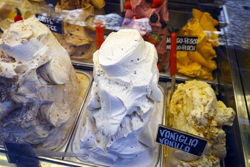 Detail der köstlichen Eiscreme in einem Shop lizenzfreie stockfotografie