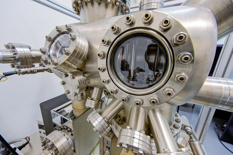 Detail der Maschinerie im Physiklabor lizenzfreies stockfoto