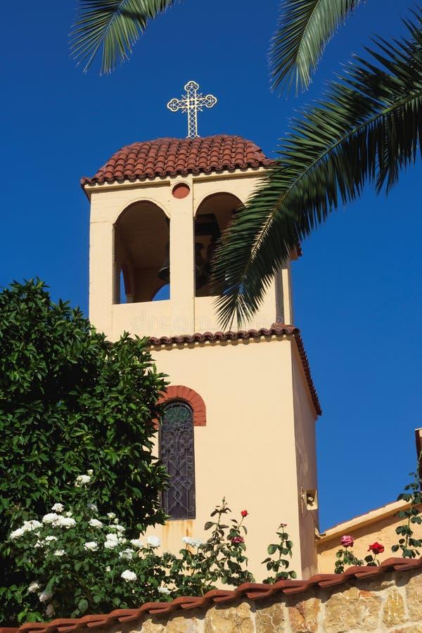 Detail der orthodoxen Kirche in Sarti, Sithonia, Griechenland stockfotografie
