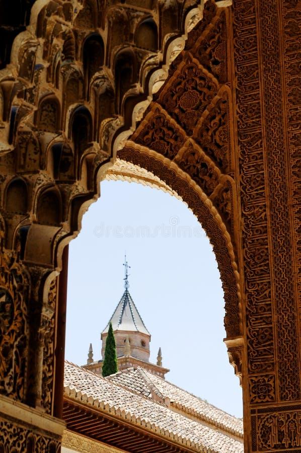Detail des Alhambra-Palastes lizenzfreie stockfotos