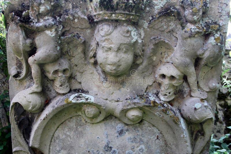 Detail des alten Grabsteins stockfoto
