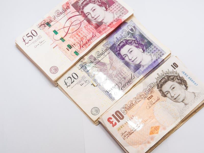 Detail des Banknotengeldes des britischen Pfunds stockbild