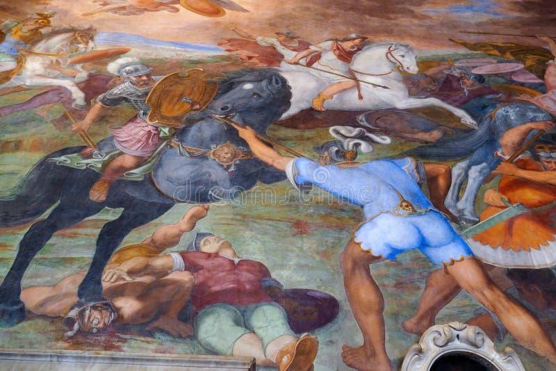 Detail des Freskos in Capitoline-Museum, Rom, Italien stockbild