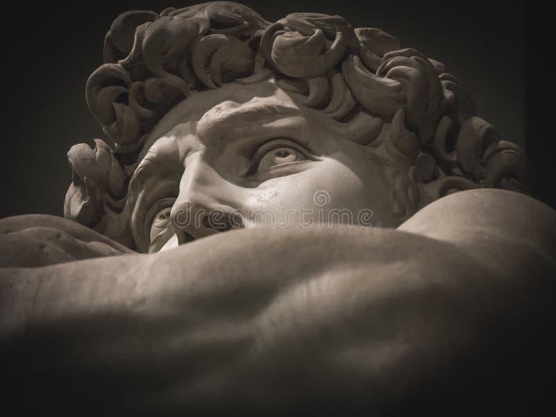 Detail des Gesichtes von Michelangelo-` s David lizenzfreies stockfoto