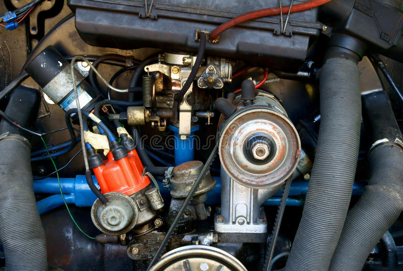 Detail des klassischen Motors stockfoto