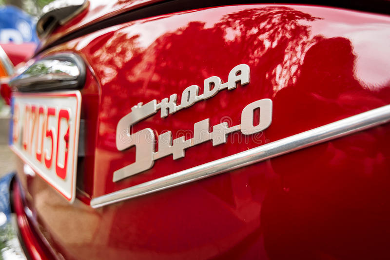 Detail des kleinen Familienautos Skoda S440, 1958 lizenzfreies stockfoto