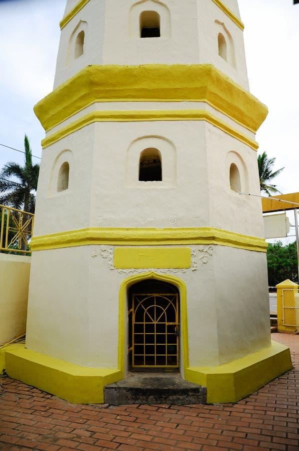 Detail des Minaretts an Moschee Kampung Duyong in Malakka stockbilder