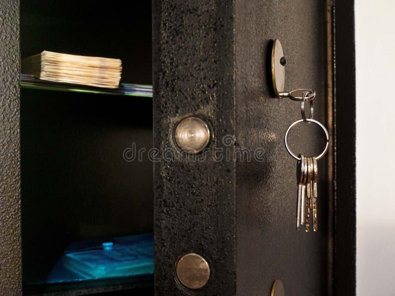 Detail des offenen Safes stockfoto