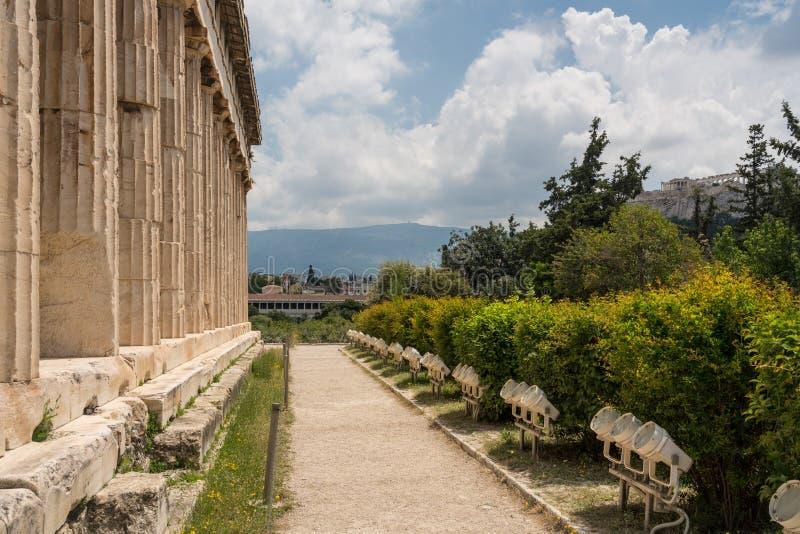 Detail des Tempels von Hephaestus im griechischen Agora stockfoto