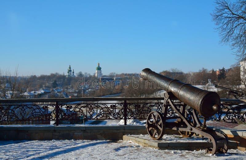 Detail des Val-Parks im Winter mit einer Kanone, Chernihiv, Ukrai stockfotografie