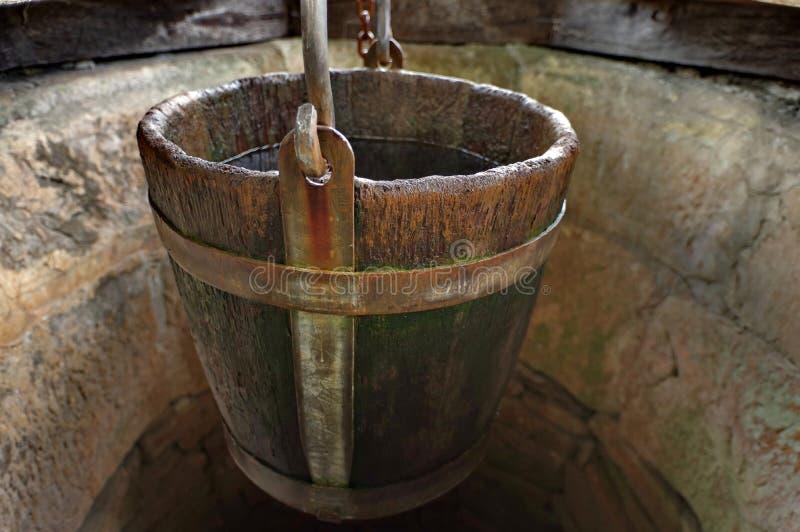 Detail des Ziehbrunnens stockfotos