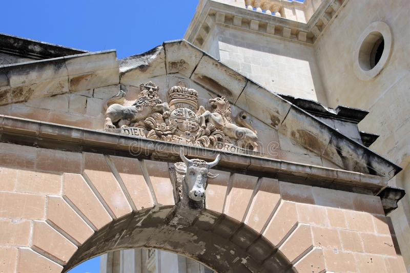 Detail of the design of the ancient stone gate on the island of Malta. stock photos