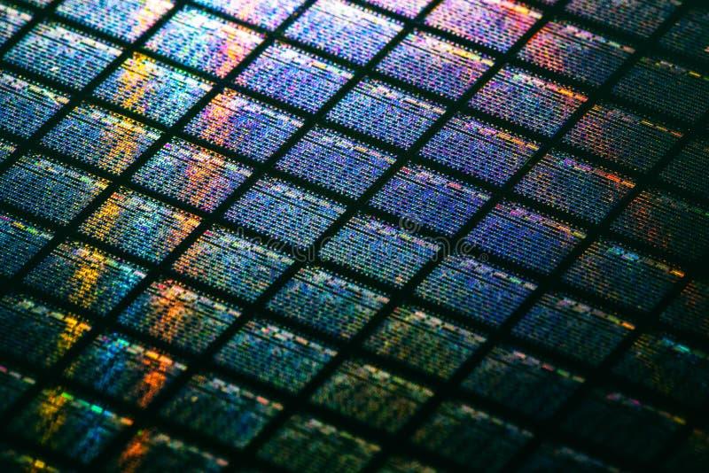 Detail die van Siliciumwafeltje Microchips bevatten stock afbeelding
