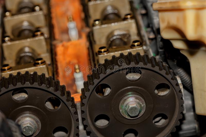 Detail of the disassembled engine of a car. For repair stock images