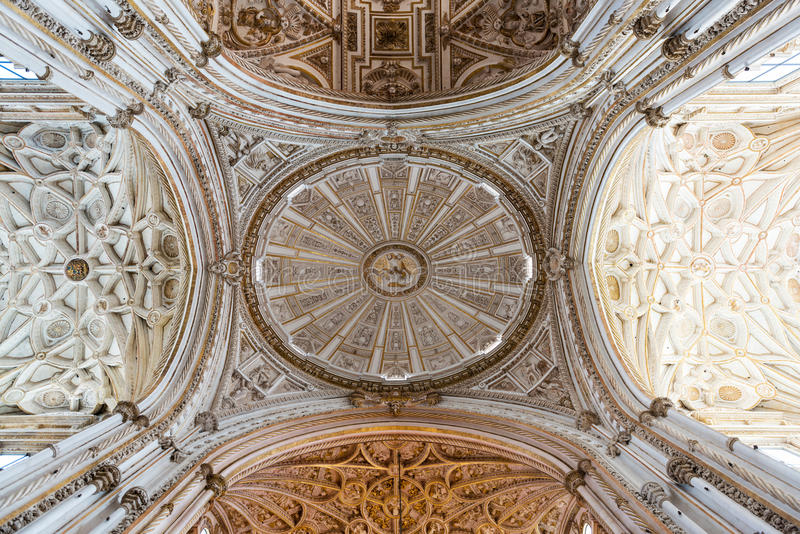 Detail of the dome inside Cordoba Mosque Cathedral royalty free stock images