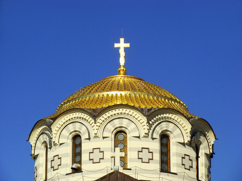 Detail of the dome, Saint Vladimir Cathedral, Chersonesos Taurica, Sevastopol, Crimea stock photography