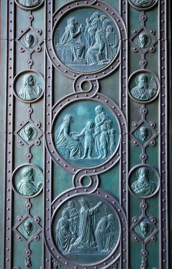 Landmark in Prague. Detail of door of Catholic Church of Saints Cyril and Methodius - Czech Republic. Landmark in Prague. Detail of door of Catholic Church of stock photos