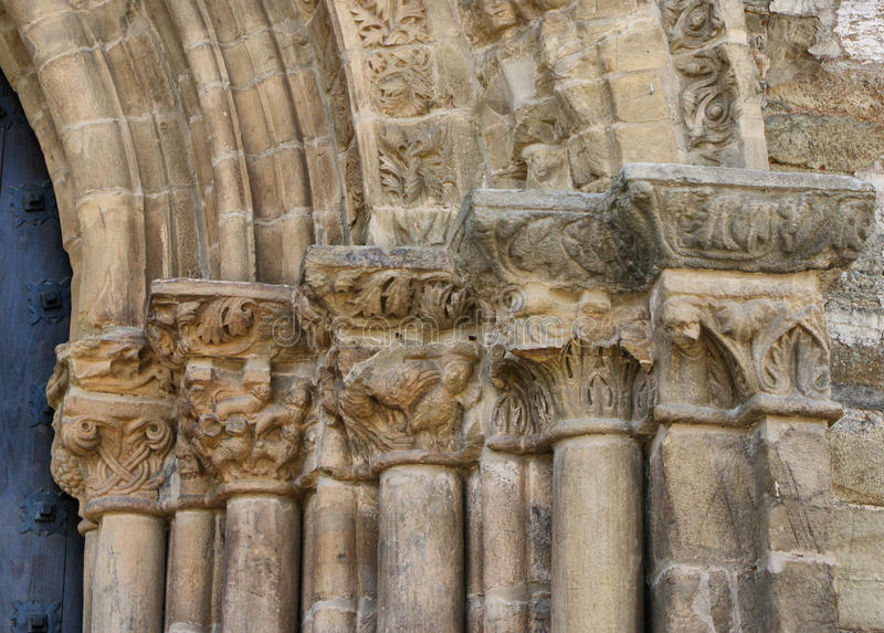 Download Detail Of Door Of Forgiveness On Romanesque Church Of Santiago Stock Photo - Image of french, monastery: 73611140