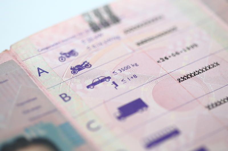 Detail of driving license. Detail of Dutch drivers license with focus on the motor vehicle (car) category (B stock photo