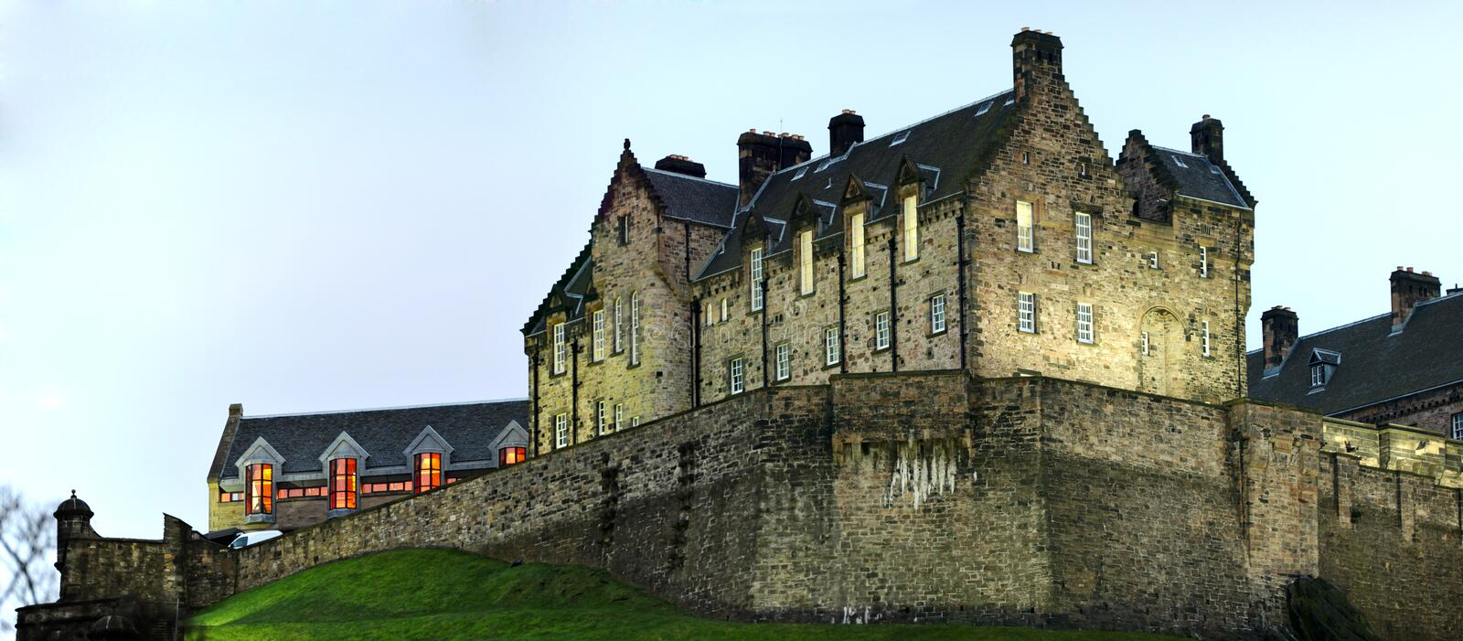 Download Detail Of Edinburgh Castle At Nightfall In Winter Stock Photo - Image: 8401940