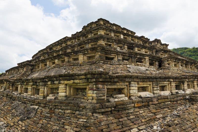 Detail einer Pyramide an der archäologischen Fundstätte EL Tajin im Staat von Veracruz stockfoto