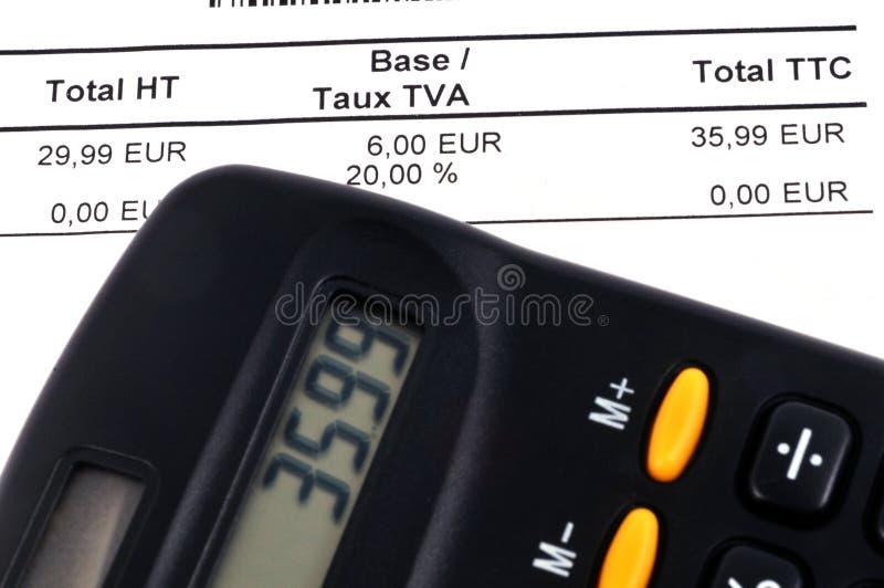 Detail einer Rechnung auf franz?sisch lizenzfreie stockfotos