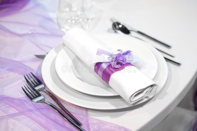 Detail eines Hochzeitsabendessens stockfotografie
