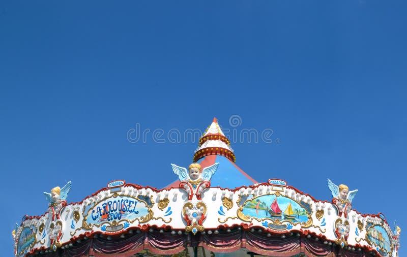 Detail eines Karussells mit Amoren lizenzfreie stockfotos