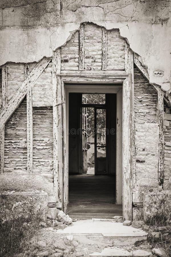 Detail eines klapperigen Hauses stockbild