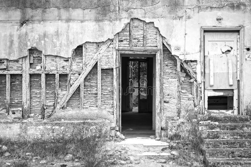 Detail eines klapperigen Hauses stockfoto