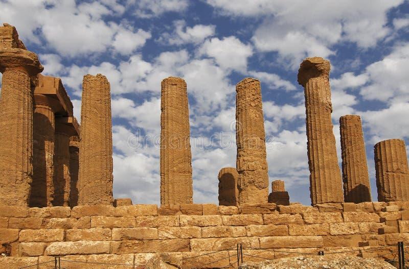 Detail eines Tempels in Sizilien lizenzfreie stockfotos