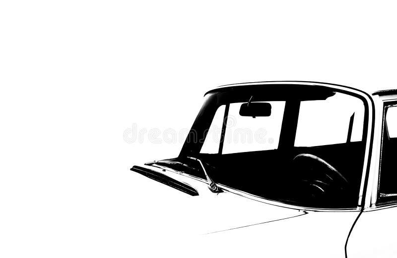 Weinlese-Auto-Schattenbild lizenzfreie stockfotos