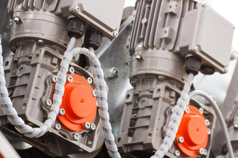 Detail of electric engine, part of electrical machinery, technology. Detail and part of electric engine, part of industrial machinery, technology stock photo