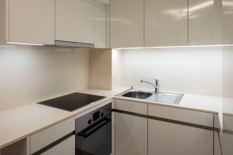 Detail elektrische kooktoestellen in ontwerperkeuken stock foto