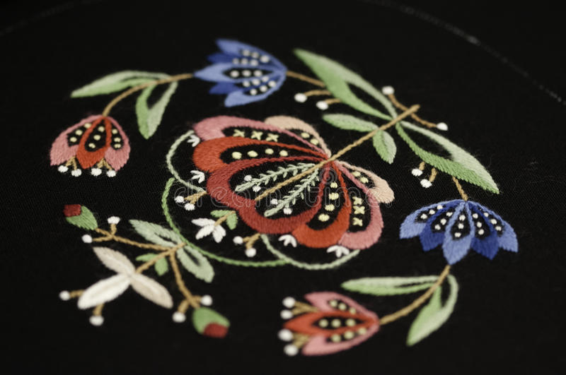 A detail of embroidered norwegian pattern. On the national costume typical for west cost royalty free stock photos