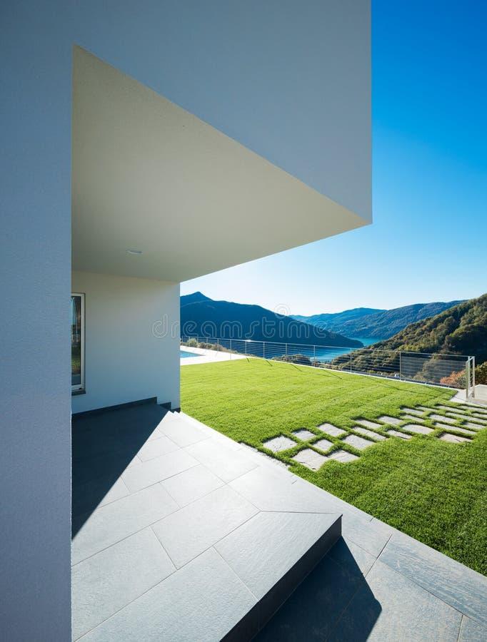 Detail of entry of modern villa stock photos