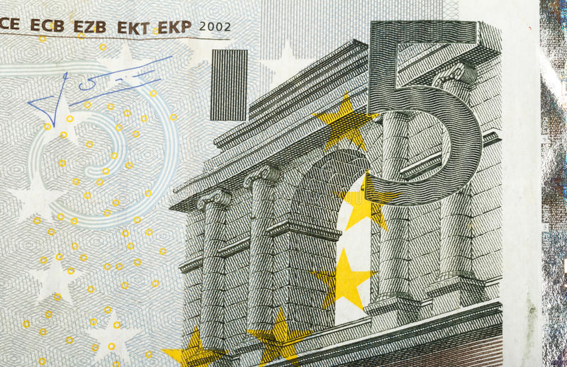 Detail of euro fifth money banknote. Close up macro detail of fifth euro money banknote royalty free stock images