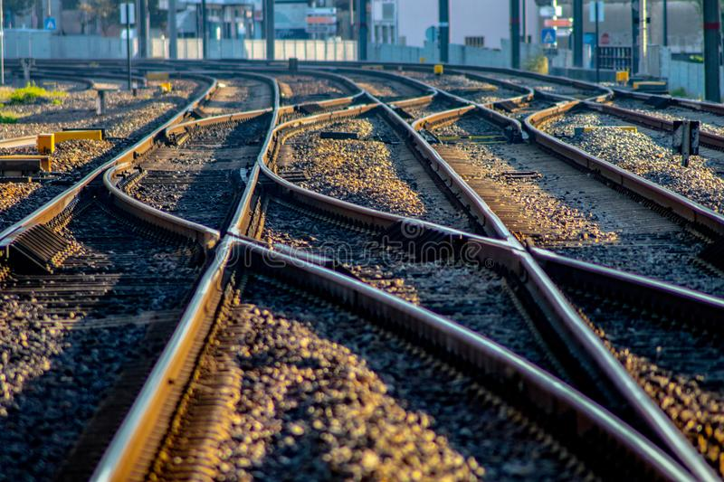 Detail of an european train track royalty free stock photos