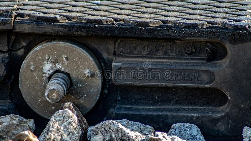 Detail of an european train track stock photos