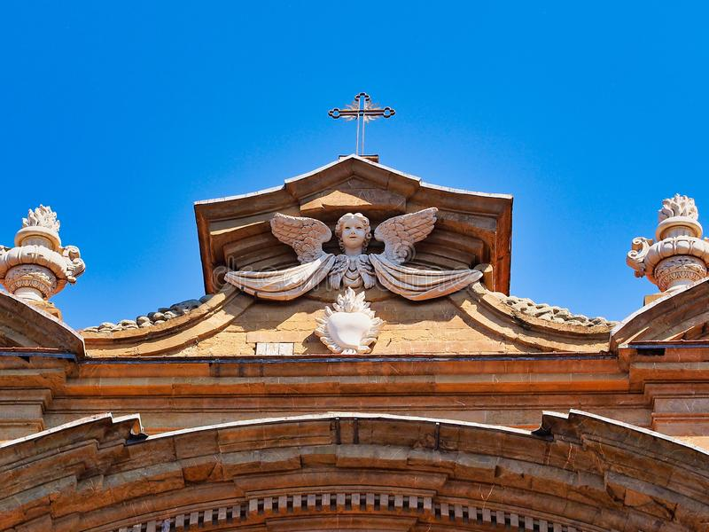 Winged Angel Detail of Florence Church, Italy royalty free stock photo