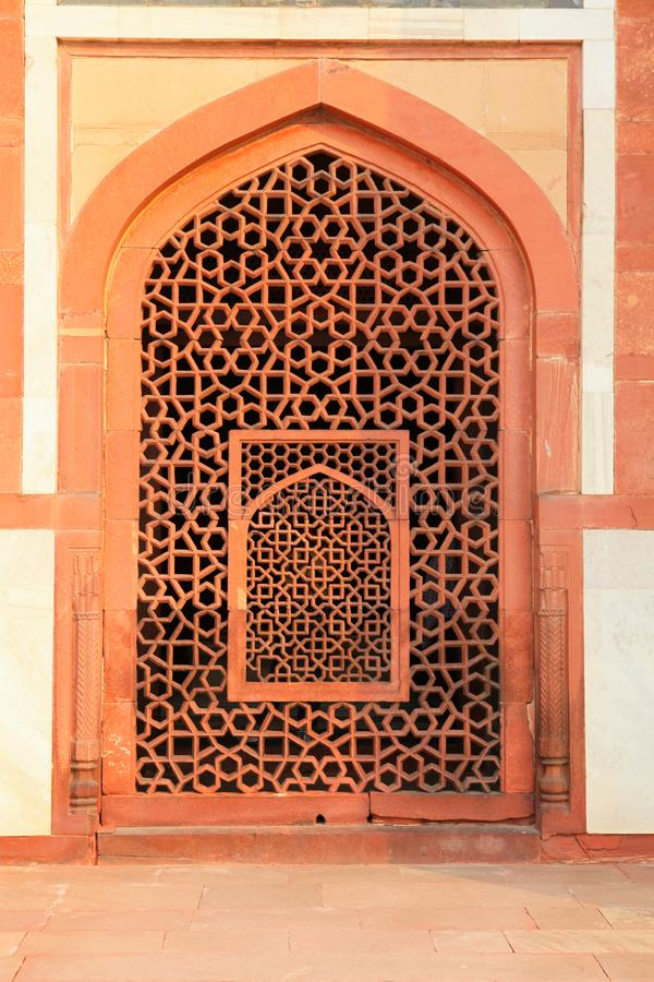 Detail of the exterior of Humayun`s tomb Maqbaera e Humayun the tomb of the Mughal Emperor Humayun in Delhi, India. Asia stock photo
