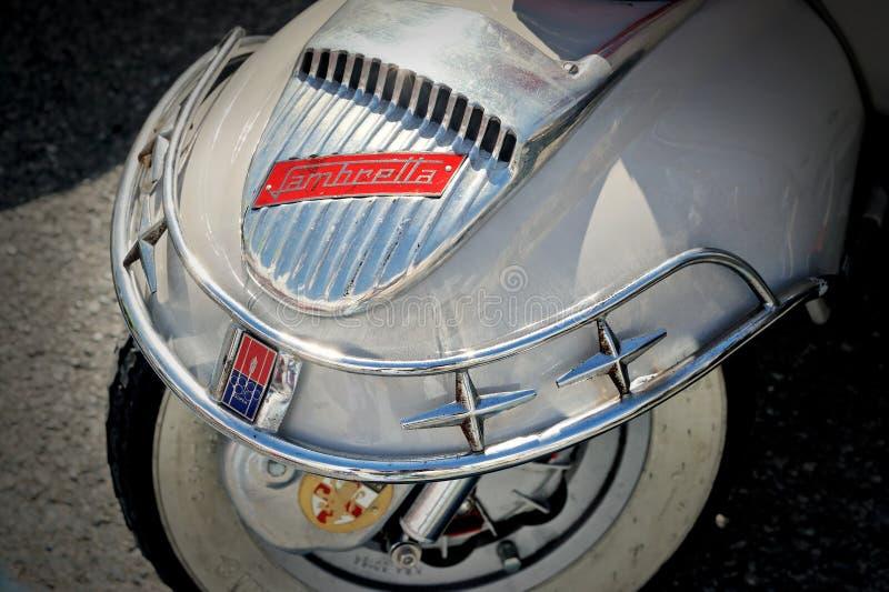Detail f design Lambretta - iconic Italian scooter. stock photography