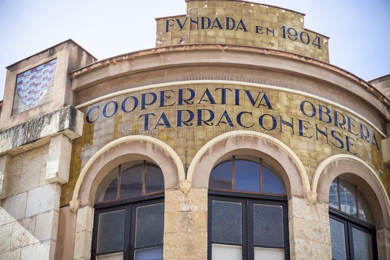 Detail facade building Cooperativa obrera Tarraconense,modernist style by Josep M.Jujol,Tarragona,Spain. stock image