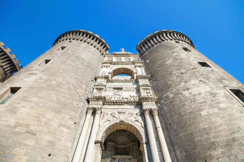 Detail of the facade of Castle Nouvo in Naples, Italy. royalty free stock photo