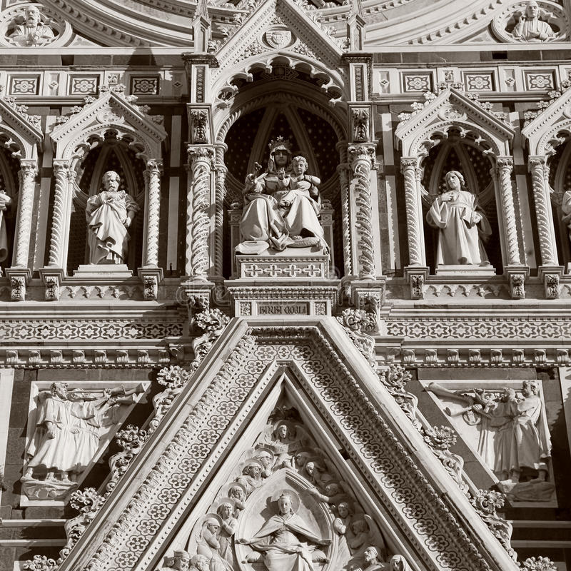 Detail from facade of Cathedral in Florence,Italy. royalty free stock photography