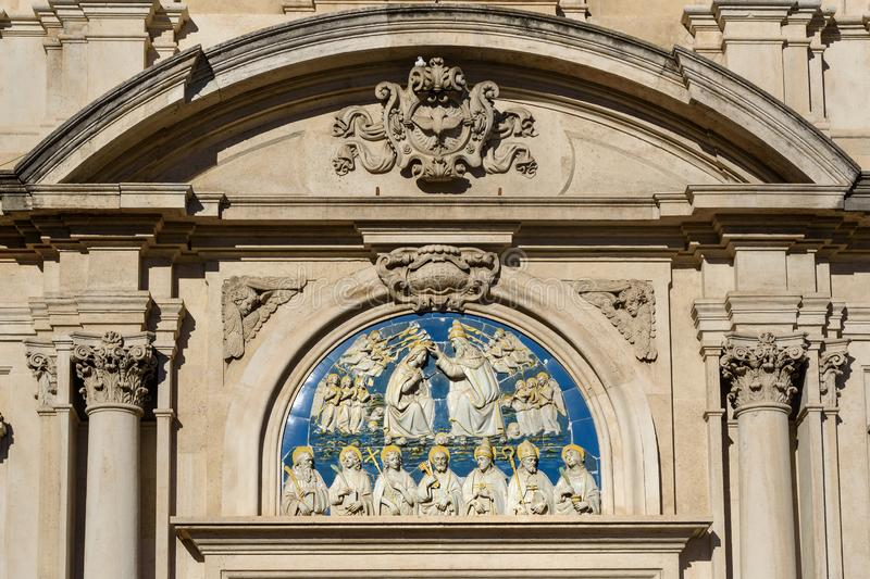 Detail of Church of All Saints, Chiesa di San Salvatore di Ognissanti at the Piazza di Ognissanti in Florence. Italy stock photos