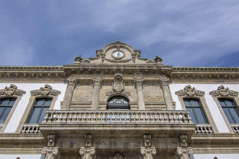 City hall of Pontevedra city, Galicia, Spain. Detail of facade of City hall of Pontevedra city, Galicia, Spain royalty free stock photo