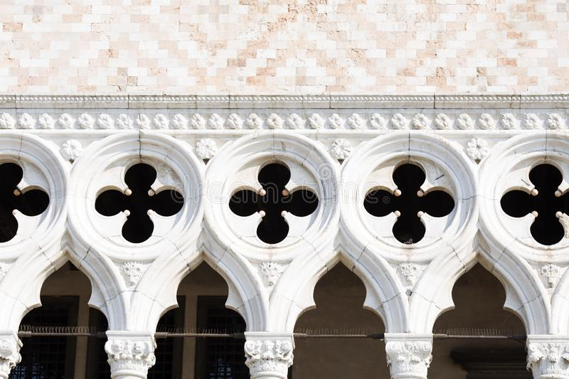 Detail of facade of the Doge`s palace in Venice royalty free stock images